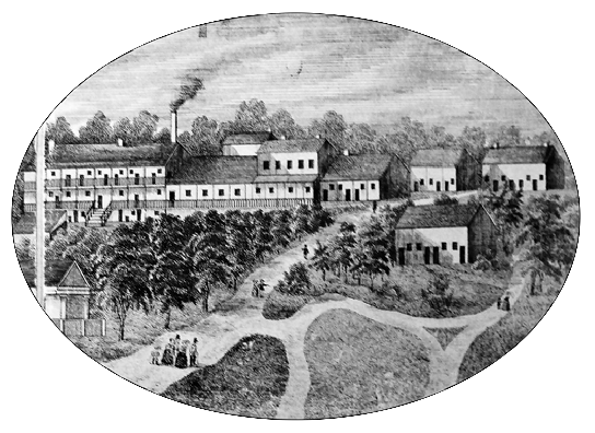 Illustration of Neff House from 1855 Cone Map
