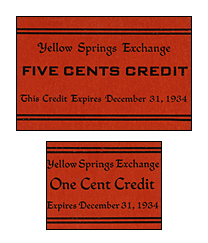 """Yellow Springs Exchange scrip """"coins"""""""