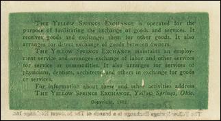 Yellow Springs Exchange scrip reverse
